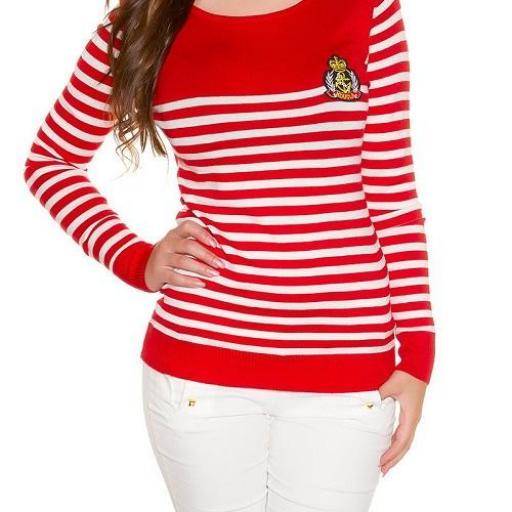Jersey corto de moda náutico rojo [1]