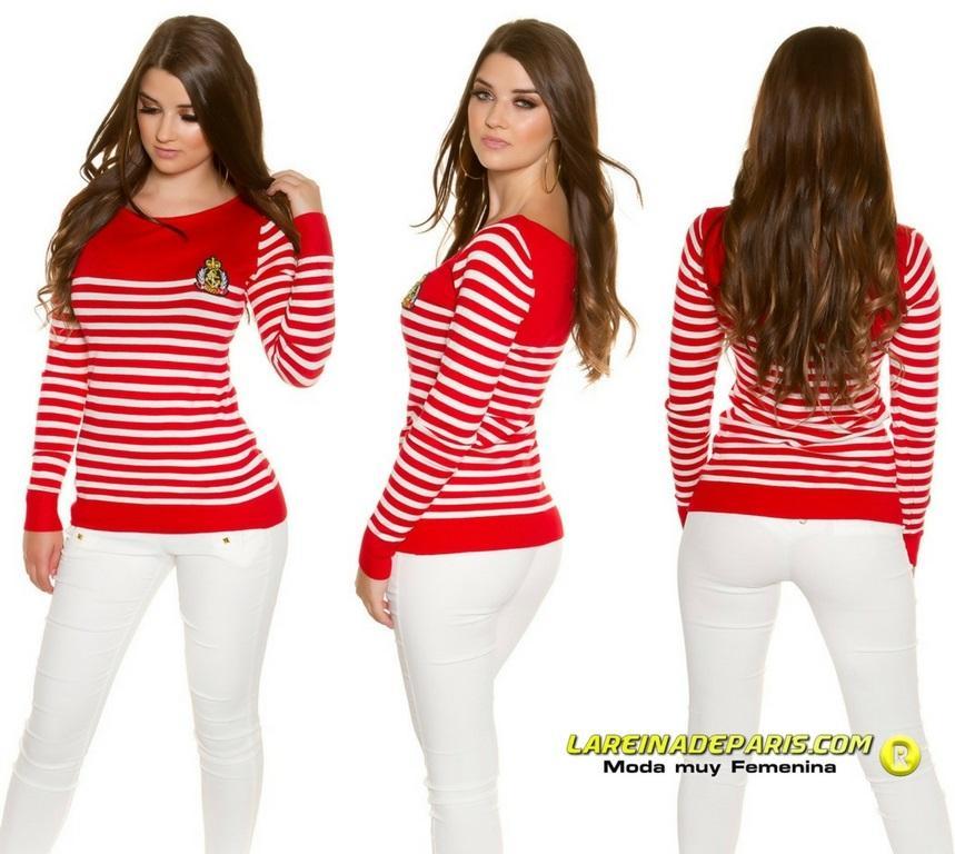 Jersey corto de moda náutico rojo