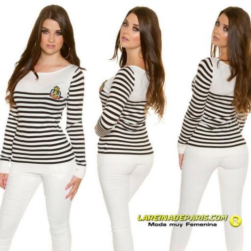 Jersey náutico moda mujer blanco y negro