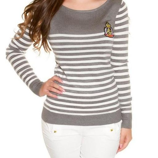 Jersey corto moda estilo náutico gris  [1]