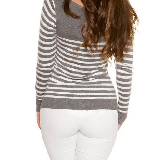 Jersey corto moda estilo náutico gris  [3]