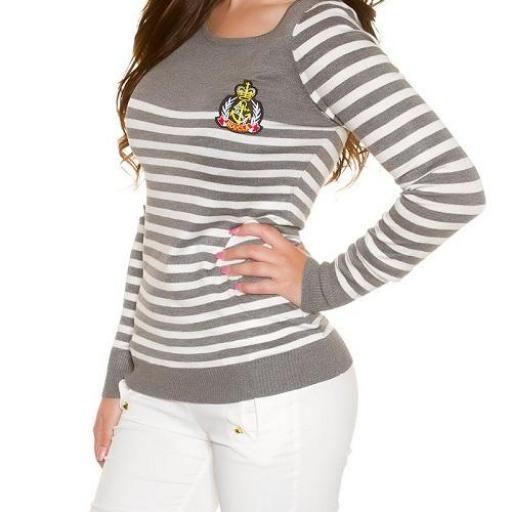 Jersey corto moda estilo náutico gris  [2]