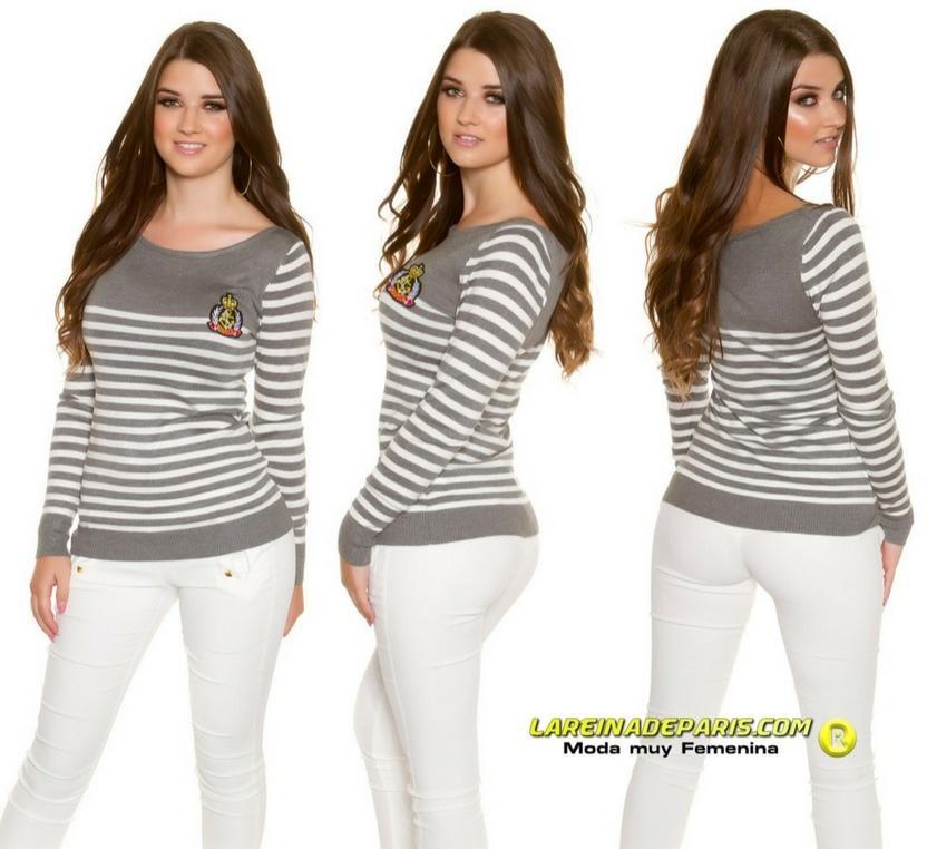 Jersey corto moda estilo náutico gris