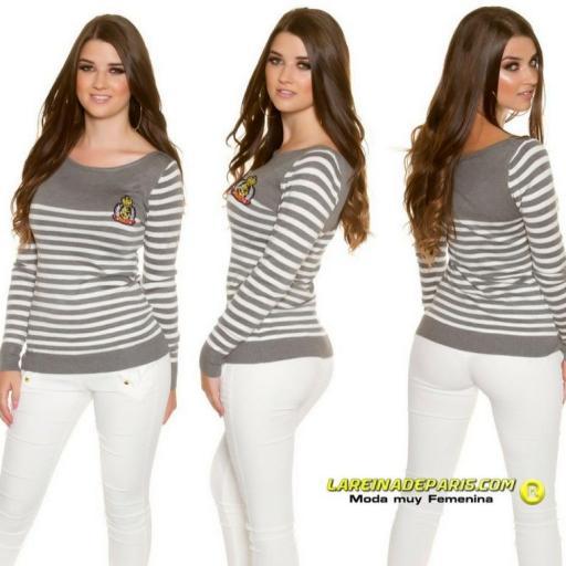 Jersey corto moda estilo náutico gris  [0]