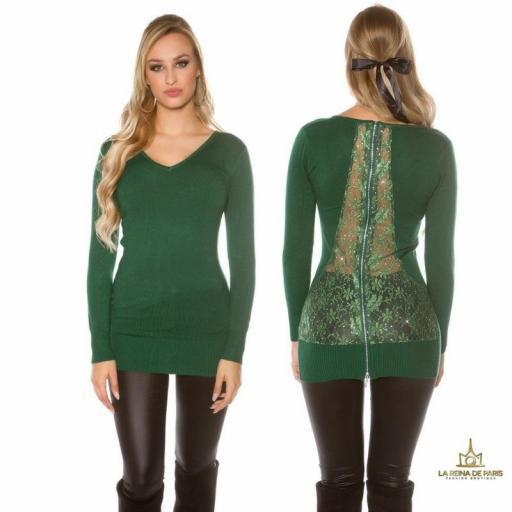 Suéter verde largo con cremallera