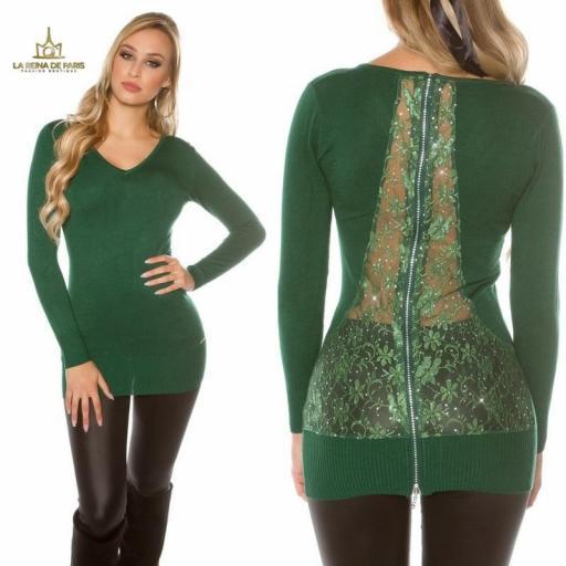 Suéter verde largo con cremallera [3]