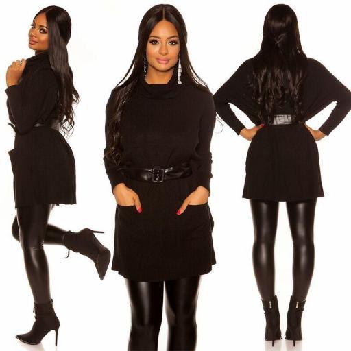 Vestido de punto| jersey de moda negro
