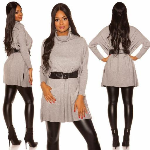 Vestido de punto| jersey de moda gris