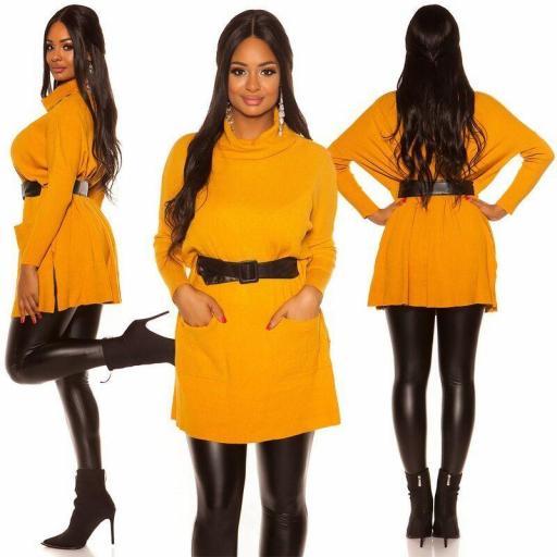 Vestido de punto| jersey de moda mostaza