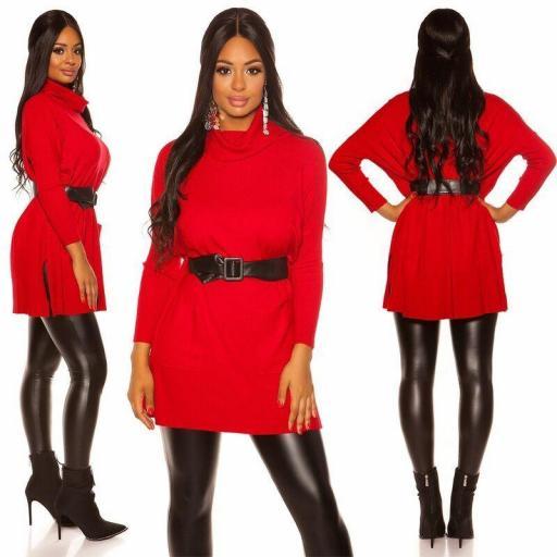 Vestido de punto| jersey de moda rojo