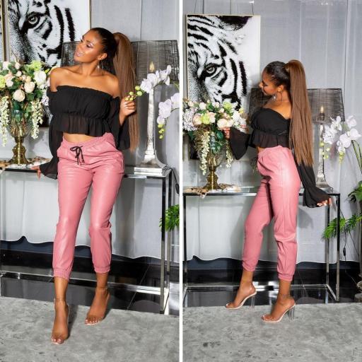 Pantalón jogger cuero rosa