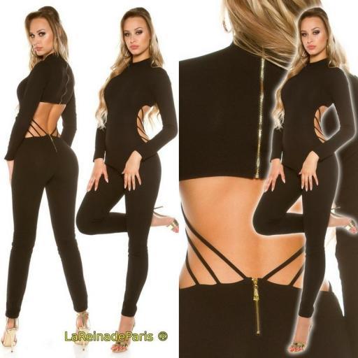 Jumpsuit ajustado Cut out negro [1]