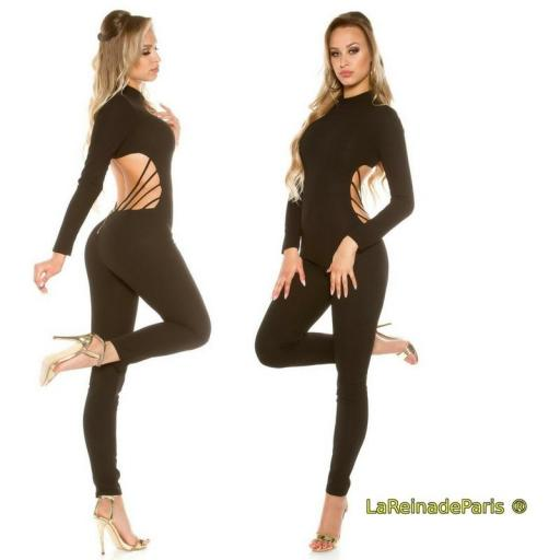 Jumpsuit ajustado Cut out negro [3]