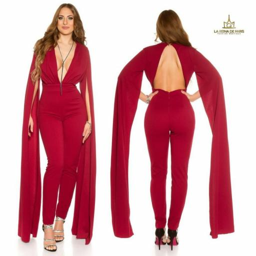 Jumpsuit V cut mangas XL burdeos