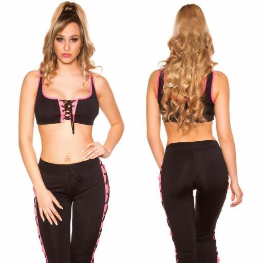Leggings gym con cordones negro fucsia [3]