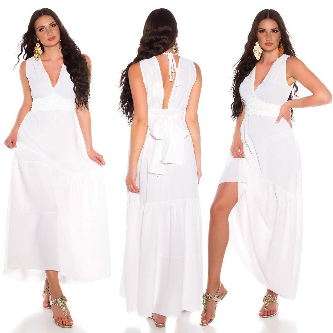 Maxi vestido blanco con lazo