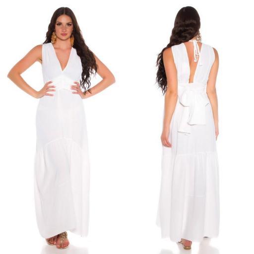 Maxi vestido blanco con lazo  [1]