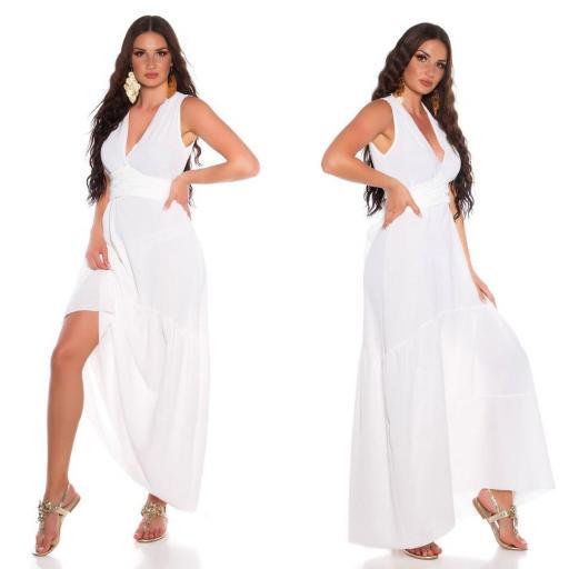Maxi vestido blanco con lazo  [2]