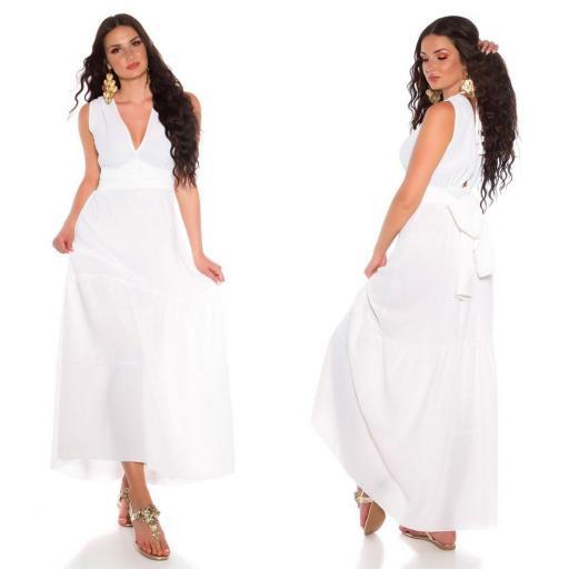 Maxi vestido blanco con lazo  [3]