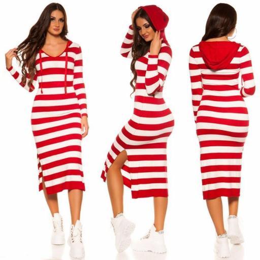Maxi vestido de punto rojo capucha
