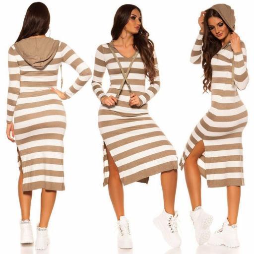 Maxi vestido de punto gris capucha [1]
