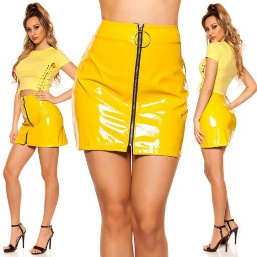 Mini falda amarilla con cremallera XXL