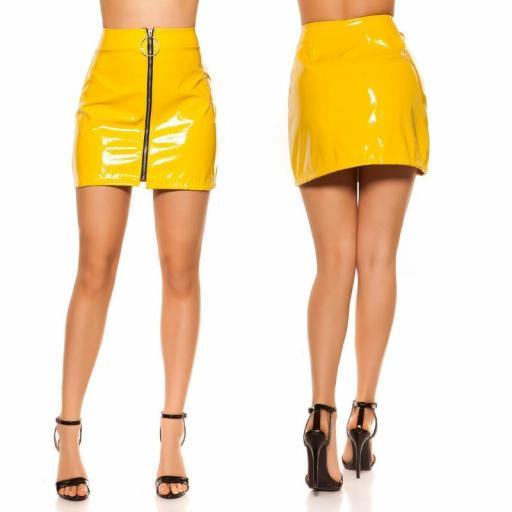 Mini falda amarilla con cremallera XXL [1]