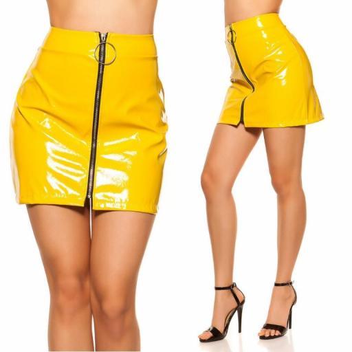 Mini falda amarilla con cremallera XXL [3]