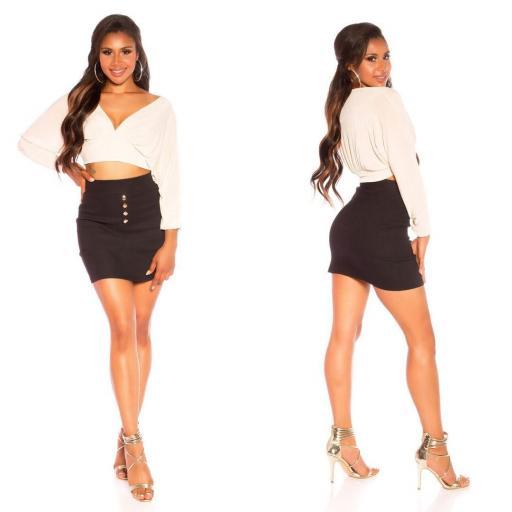 Mini falda botones color negro [1]
