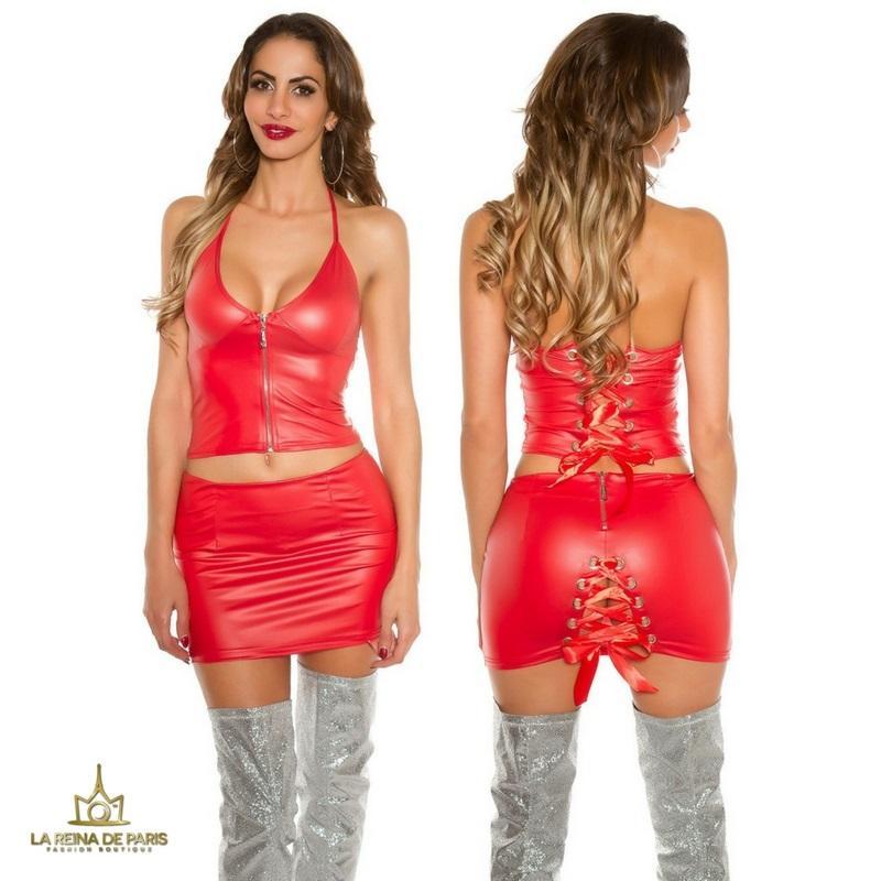 Mini falda con top conjunto efecto cuero