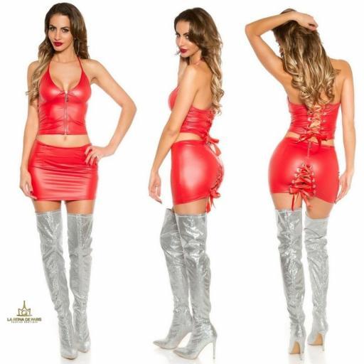 Mini falda con top conjunto efecto cuero [1]