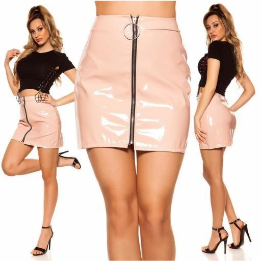 Mini falda rosa con cremallera XXL