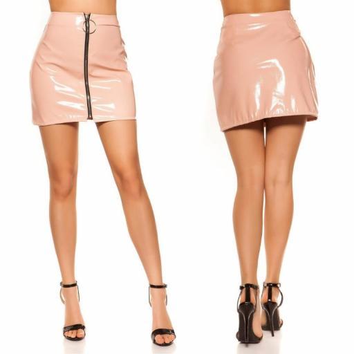 Mini falda rosa con cremallera XXL [1]