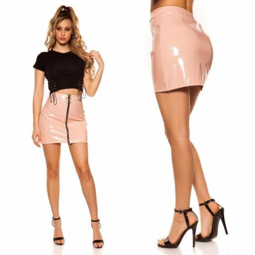 Mini falda rosa con cremallera XXL [2]