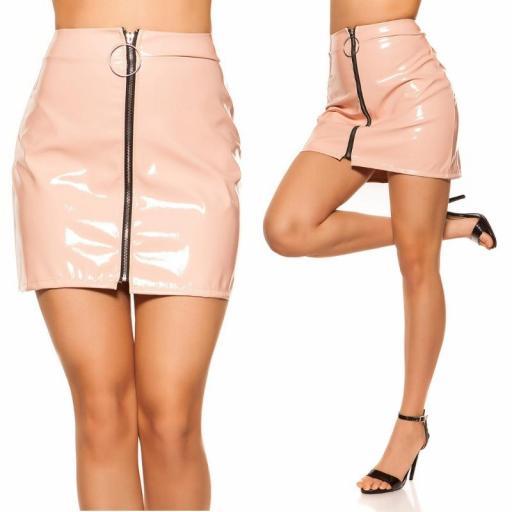 Mini falda rosa con cremallera XXL [3]