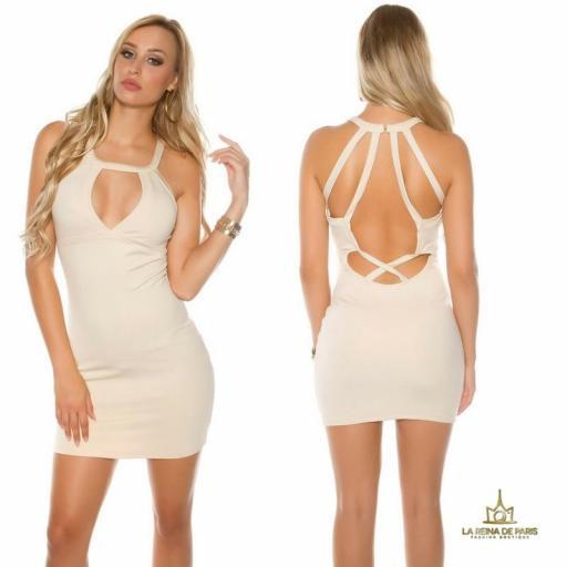 Mini vestido beige espalda con recortes [0]