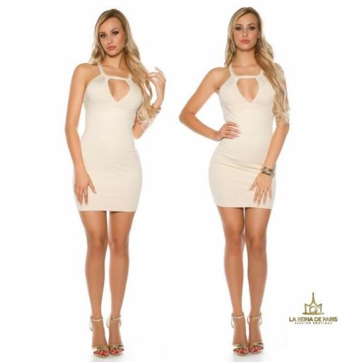 Mini vestido beige espalda con recortes [3]