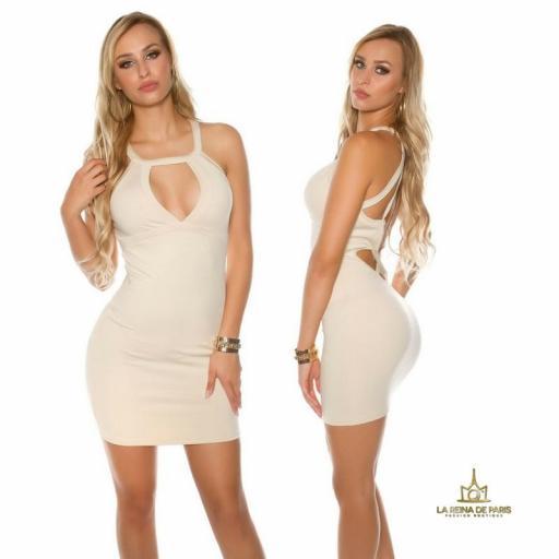 Mini vestido beige espalda con recortes [1]