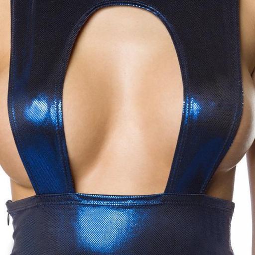 Vestido ajustado azul metalizado  [2]