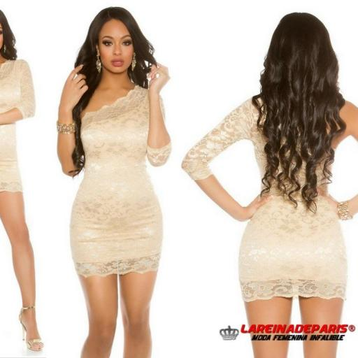 Vestido corto de encaje color oro [3]