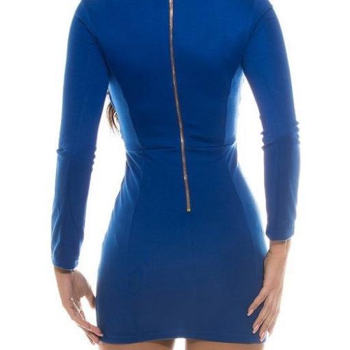 Mini vestido ajustado azul atractivo [2]