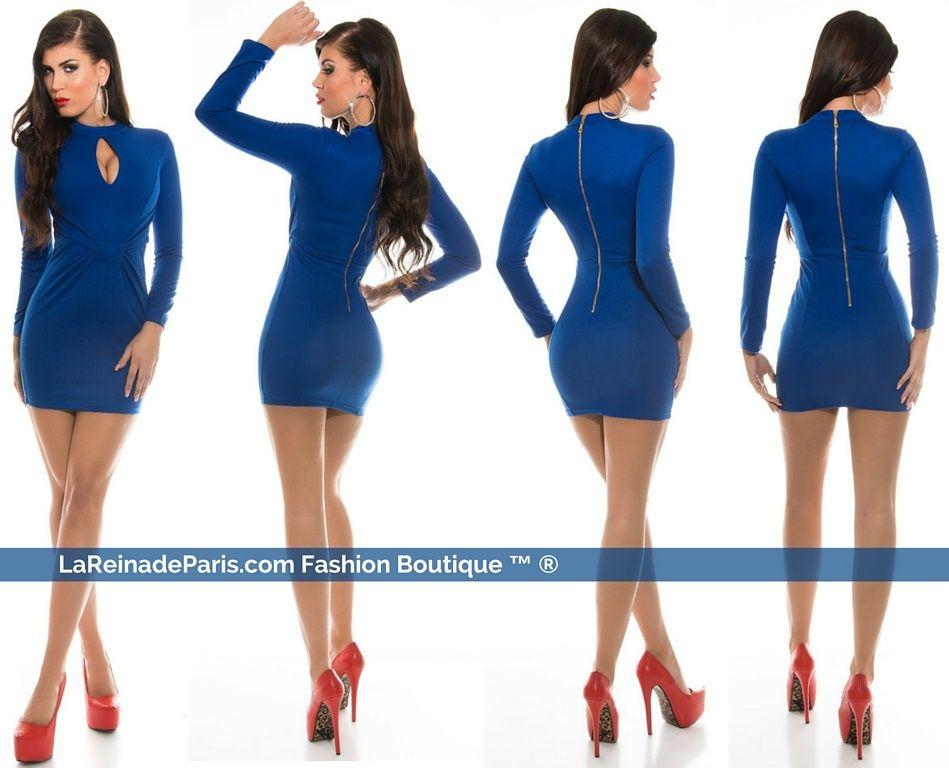 Mini vestido ajustado azul atractivo