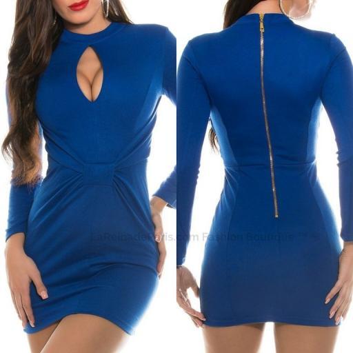 Mini vestido ajustado azul atractivo [3]