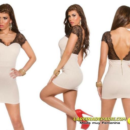 Mini vestido beige ajustado con encaje [3]