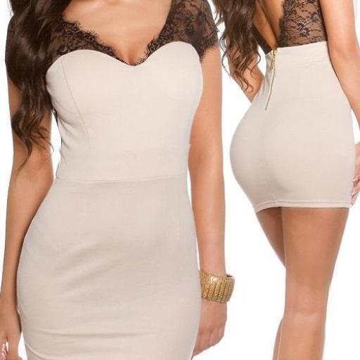 Mini vestido beige ajustado con encaje