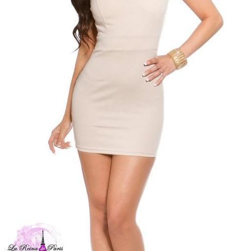 Mini vestido beige ajustado con encaje [1]