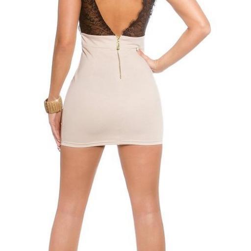 Mini vestido beige ajustado con encaje [2]