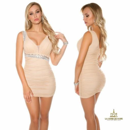Vestido beige ajustado tejido rizado [2]
