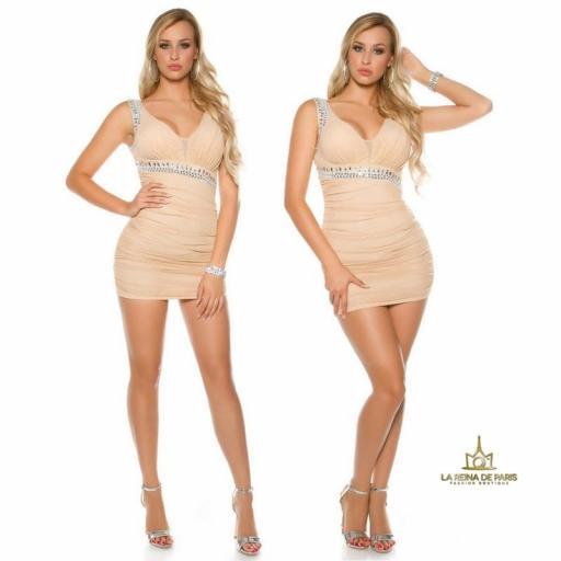 Vestido beige ajustado tejido rizado [3]
