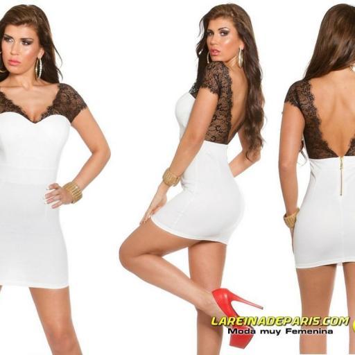 Mini vestido blanco con encaje transparente [1]